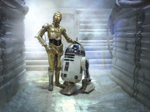 R2-D2 style droid as a companion with C3PO